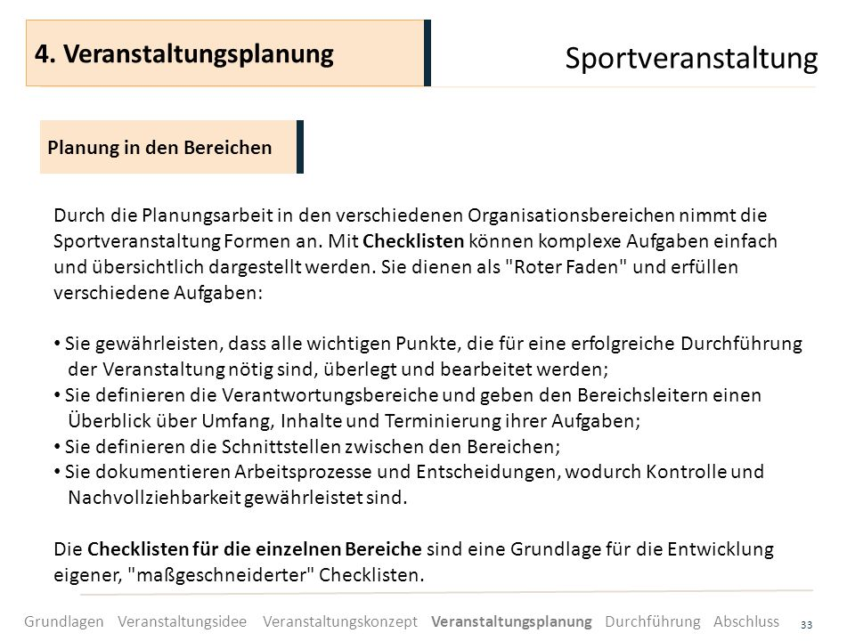 Sportveranstaltung 4. Veranstaltungsplanung Planung in den Bereichen