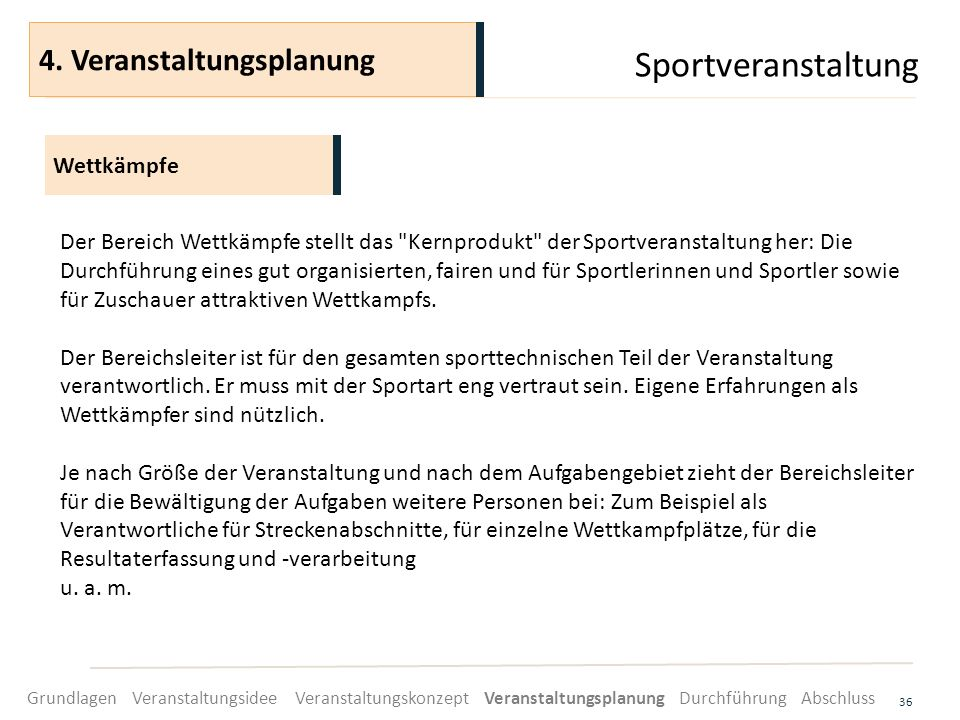 Sportveranstaltung 4. Veranstaltungsplanung Wettkämpfe