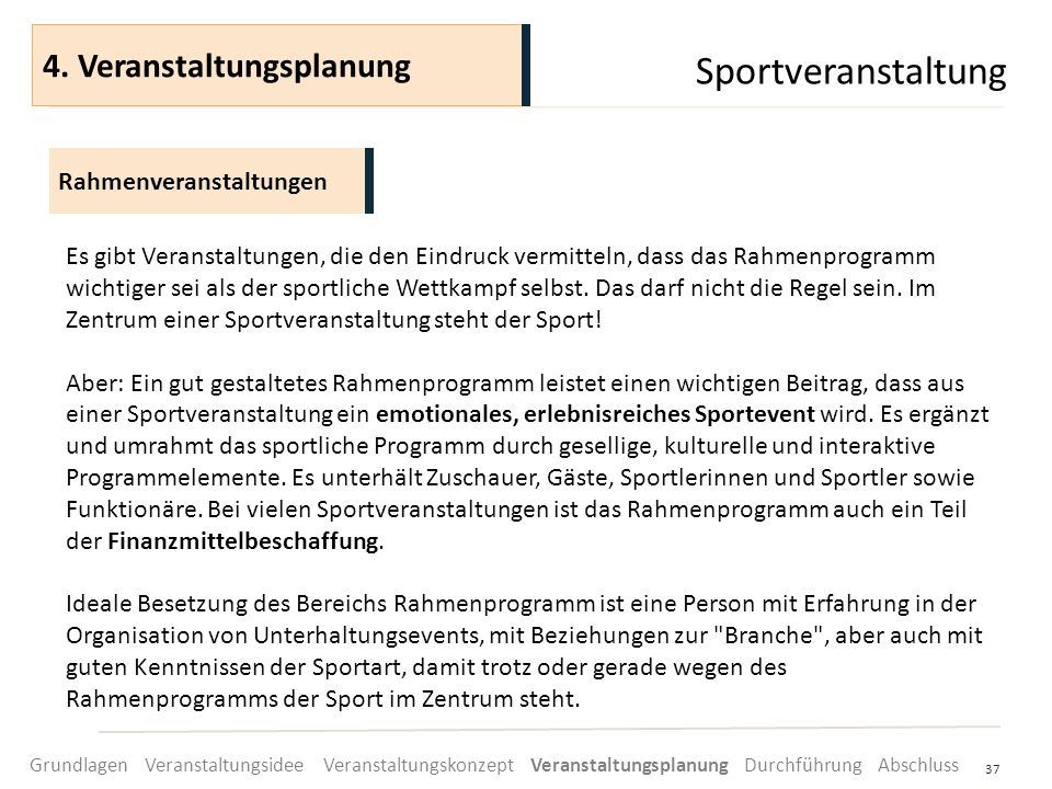 Sportveranstaltung 4. Veranstaltungsplanung Rahmenveranstaltungen
