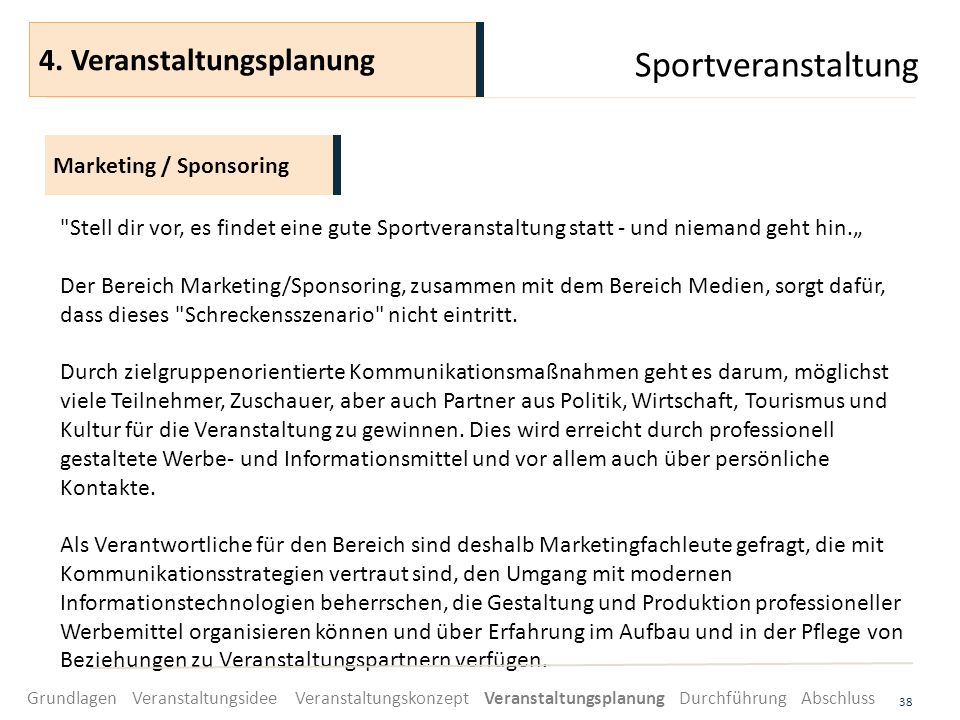 Sportveranstaltung 4. Veranstaltungsplanung Marketing / Sponsoring