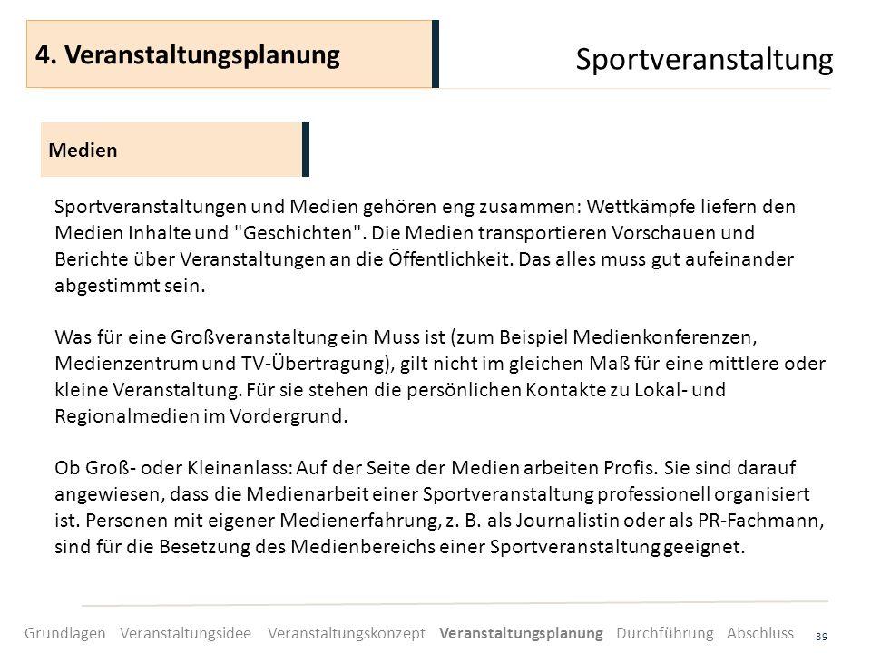 Sportveranstaltung 4. Veranstaltungsplanung Medien
