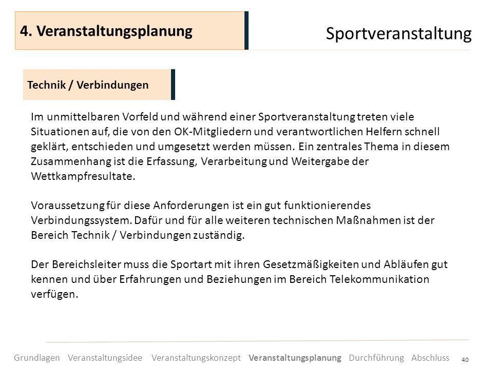 Sportveranstaltung 4. Veranstaltungsplanung Technik / Verbindungen