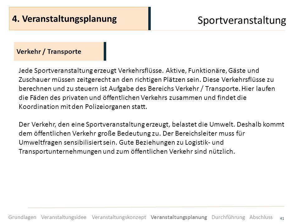 Sportveranstaltung 4. Veranstaltungsplanung Verkehr / Transporte