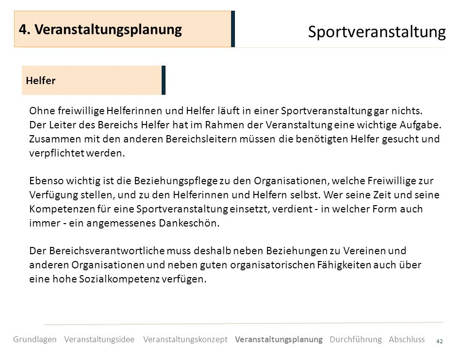 Sportveranstaltung 4. Veranstaltungsplanung Helfer