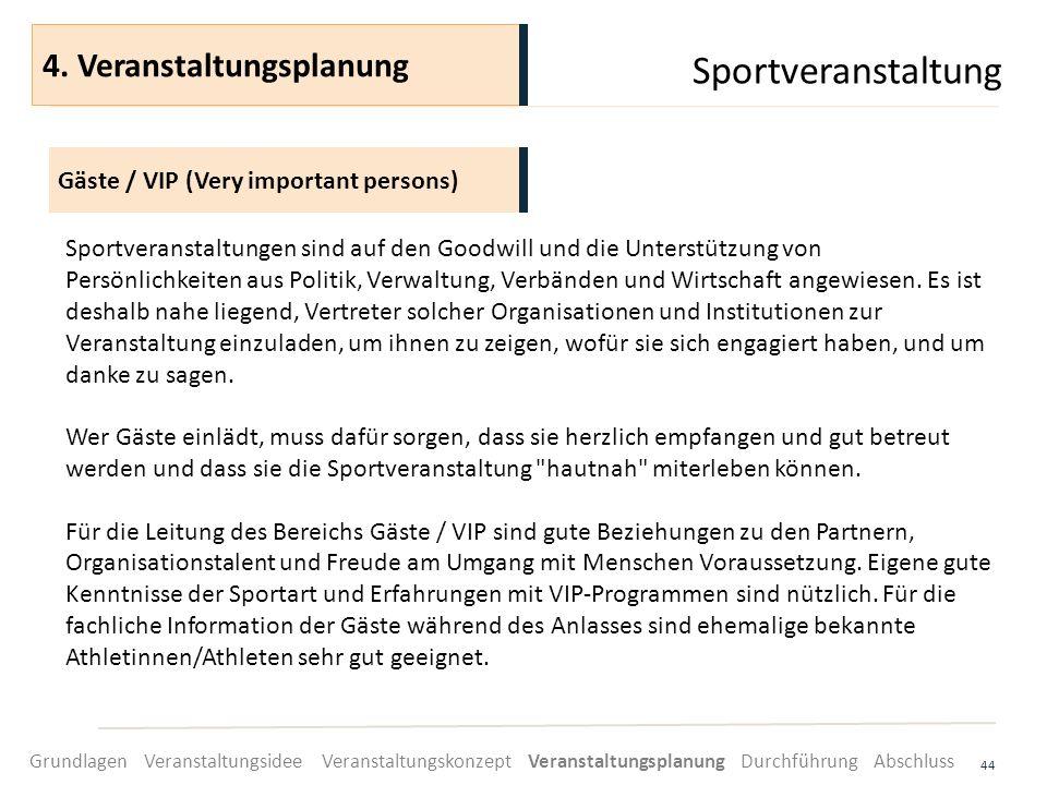 Sportveranstaltung 4. Veranstaltungsplanung