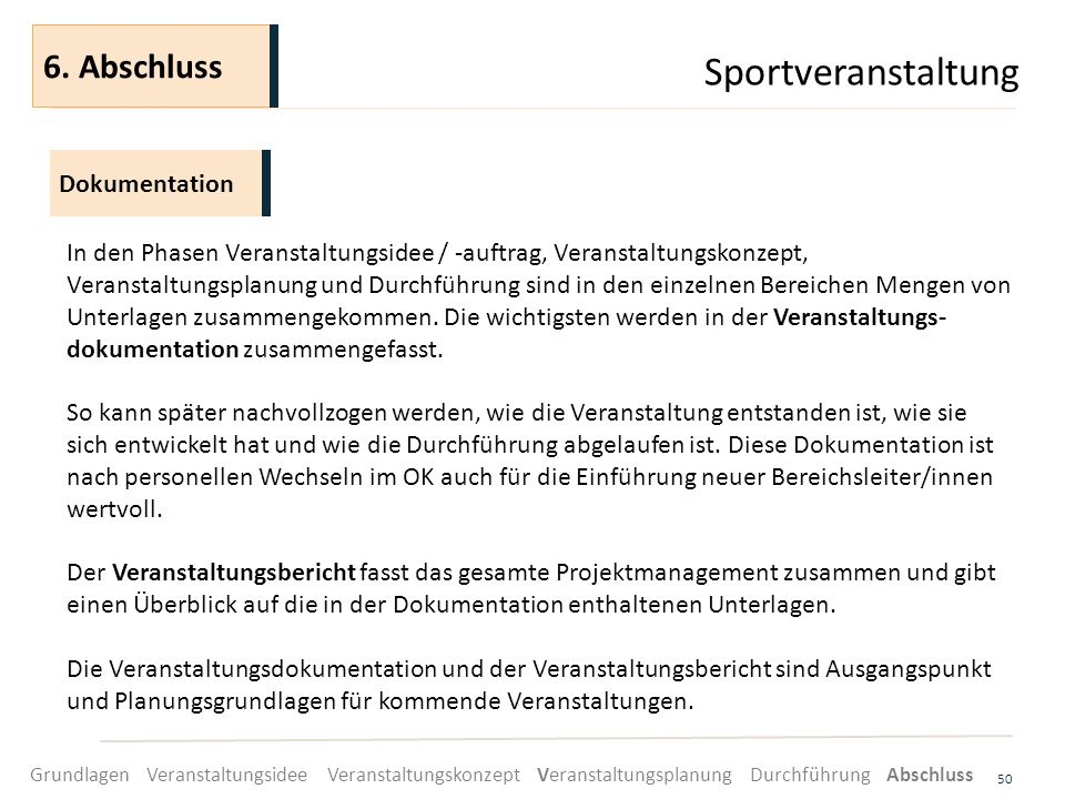 Sportveranstaltung 6. Abschluss Dokumentation