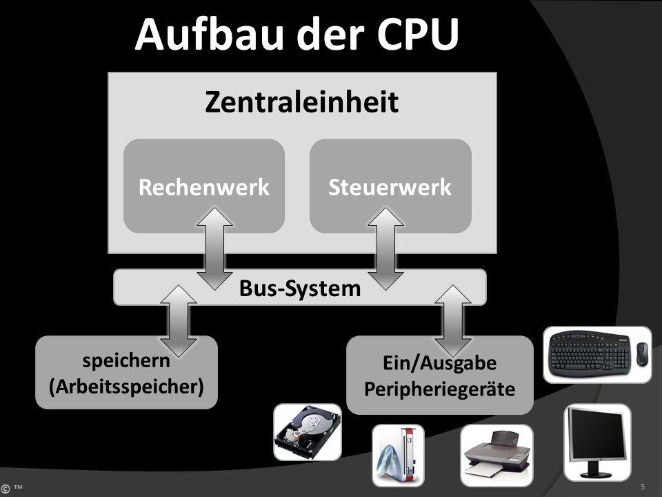 Aufbau der CPU Zentraleinheit Rechenwerk Steuerwerk Bus-System