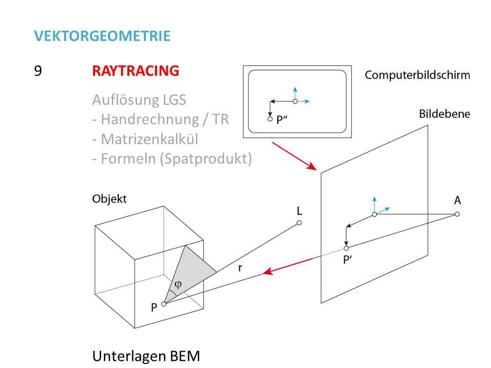 VEKTORGEOMETRIE 9. RAYTRACING. Auflösung LGS. Handrechnung / TR. Matrizenkalkül. - Formeln (Spatprodukt)