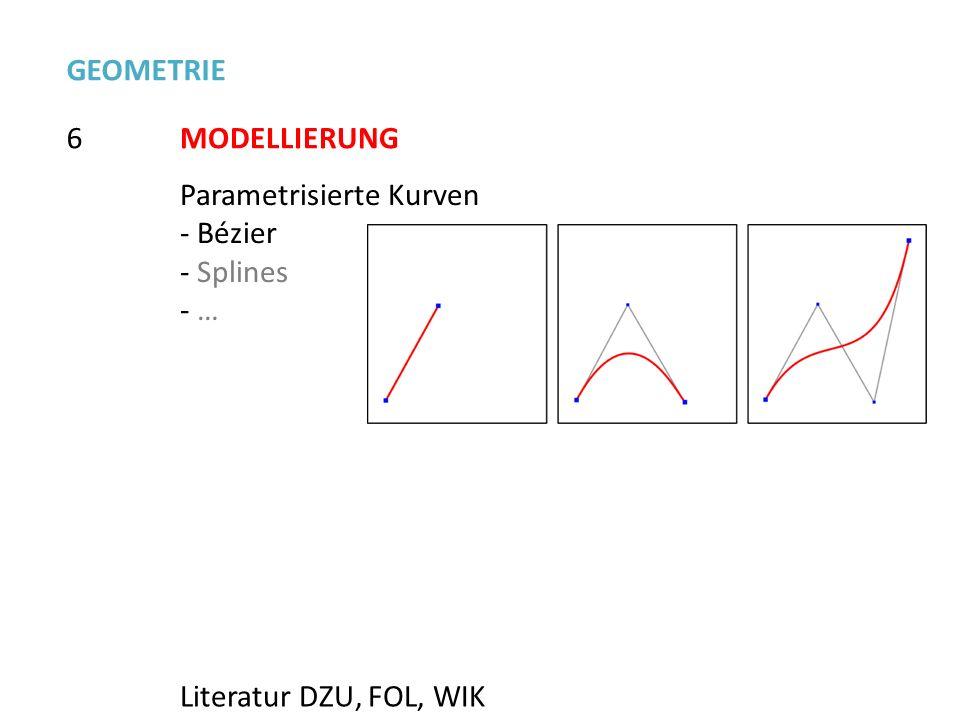 GEOMETRIE 6 MODELLIERUNG Parametrisierte Kurven Bézier Splines … Literatur DZU, FOL, WIK