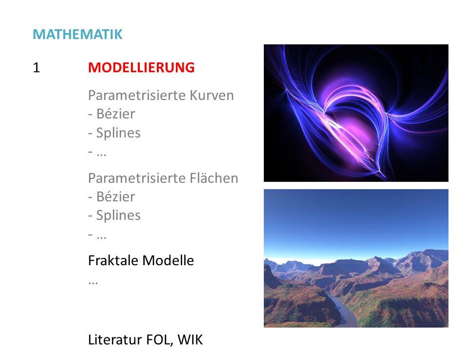 MATHEMATIK 1. MODELLIERUNG. Parametrisierte Kurven. Bézier. Splines. … Parametrisierte Flächen.