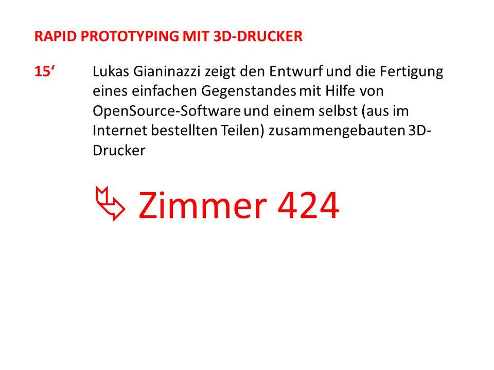  Zimmer 424 RAPID PROTOTYPING MIT 3D-DRUCKER 15'