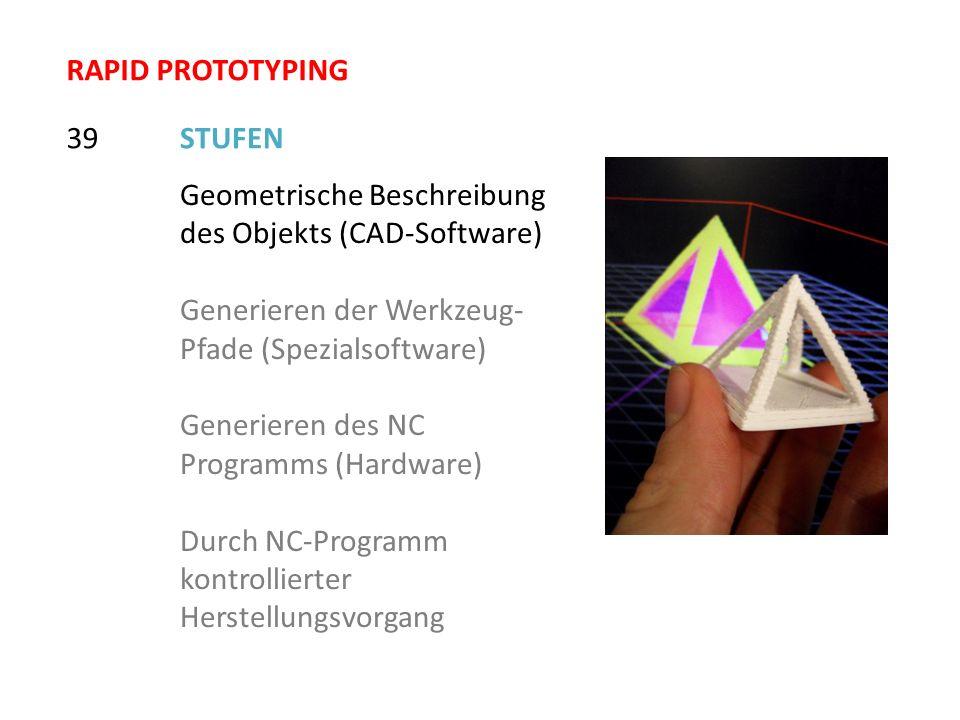 RAPID PROTOTYPING 39. STUFEN. Geometrische Beschreibung des Objekts (CAD-Software) Generieren der Werkzeug-Pfade (Spezialsoftware)