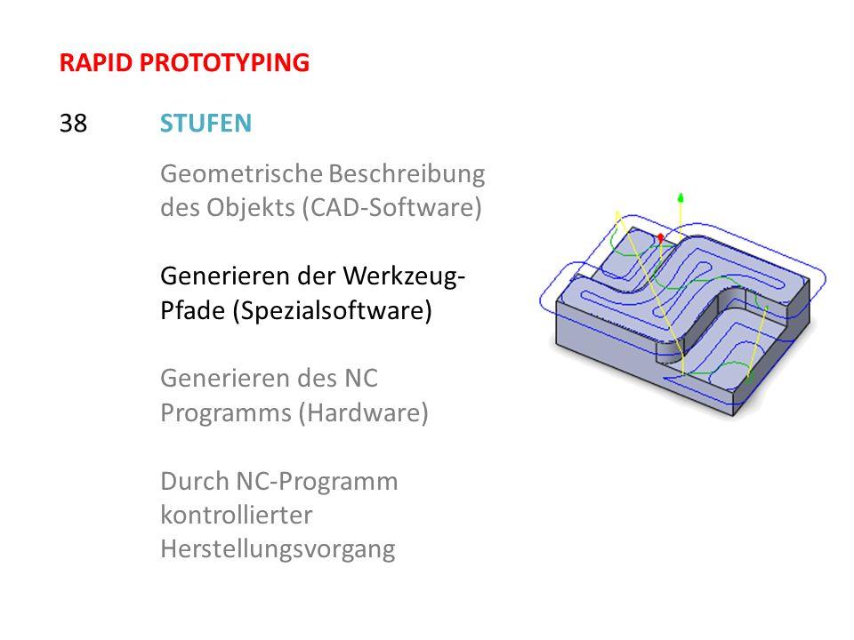 RAPID PROTOTYPING 38. STUFEN. Geometrische Beschreibung des Objekts (CAD-Software) Generieren der Werkzeug-Pfade (Spezialsoftware)