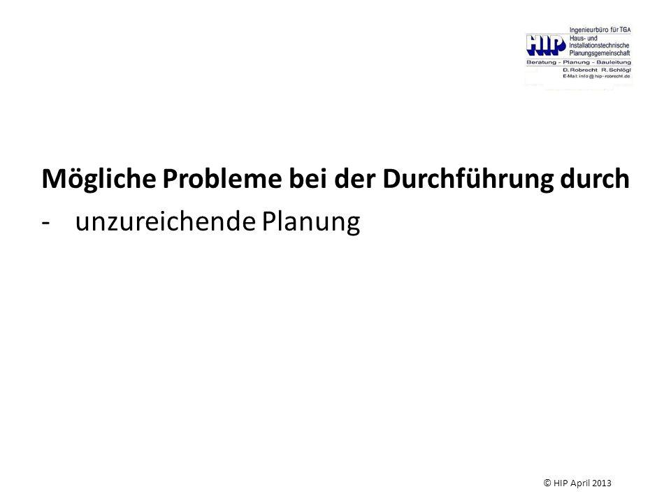 Mögliche Probleme bei der Durchführung durch unzureichende Planung
