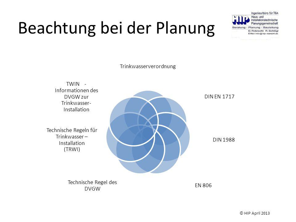 Beachtung bei der Planung