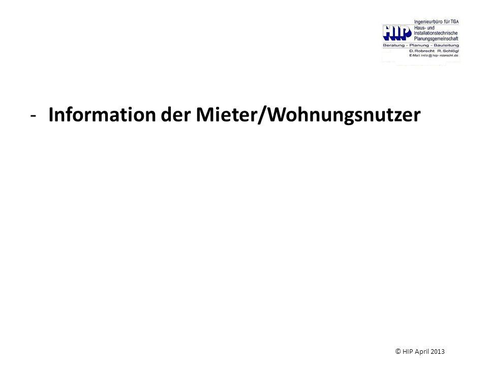 Information der Mieter/Wohnungsnutzer