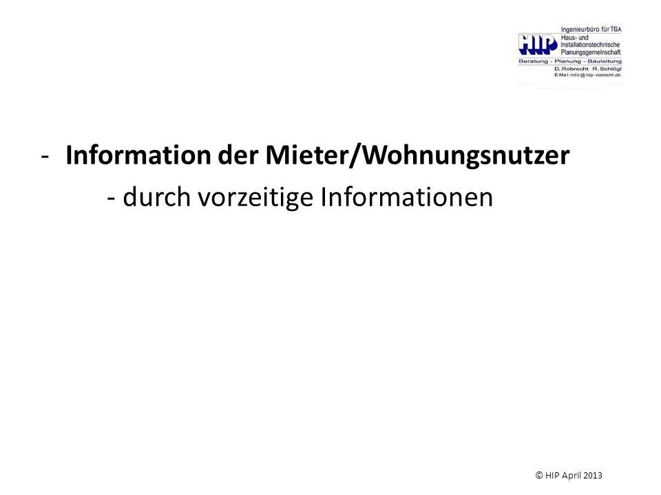 Information der Mieter/Wohnungsnutzer - durch vorzeitige Informationen