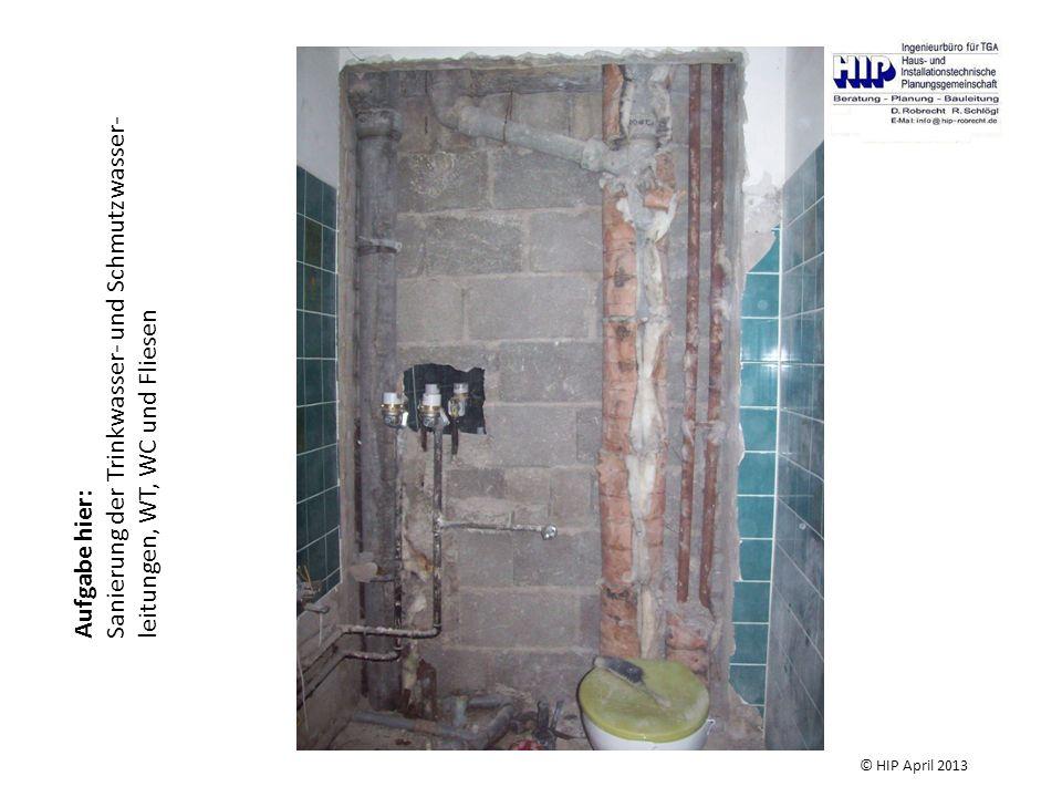Sanierung der Trinkwasser- und Schmutzwasser-leitungen, WT, WC und Fliesen