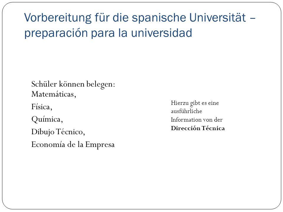 Vorbereitung für die spanische Universität – preparación para la universidad
