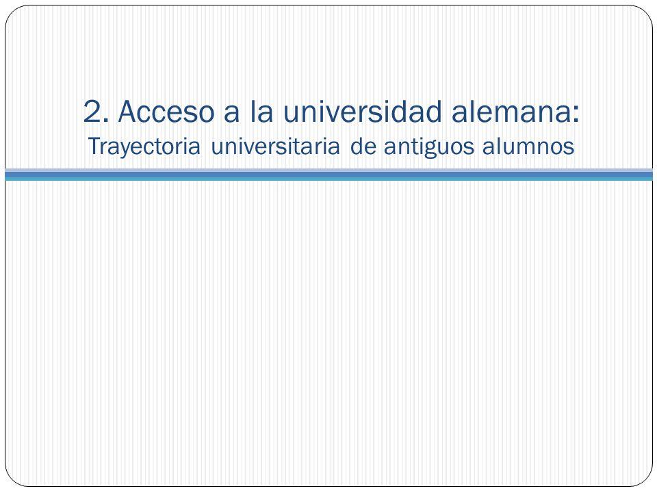 2. Acceso a la universidad alemana: Trayectoria universitaria de antiguos alumnos