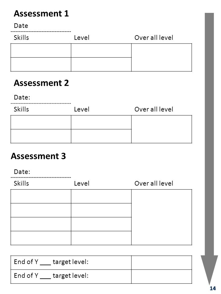 Assessment 1 Assessment 2 Assessment 3 Date Skills Level