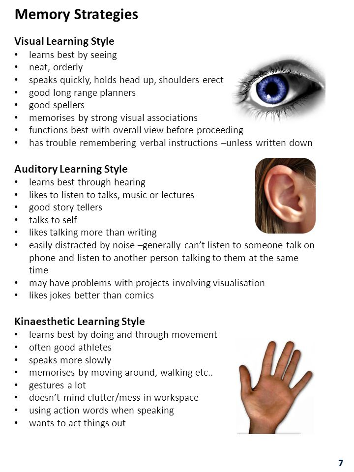 Memory Strategies Visual Learning Style Auditory Learning Style