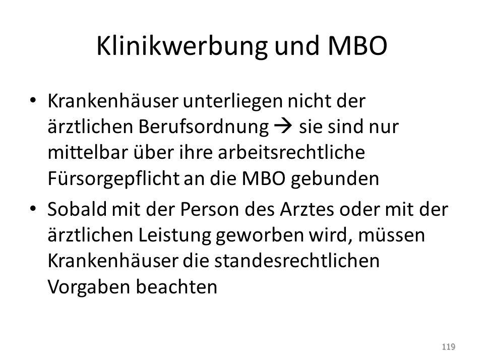 Klinikwerbung und MBO