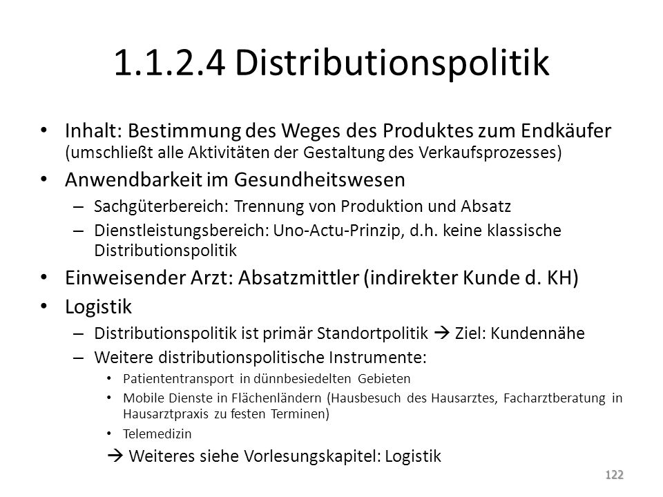 1.1.2.4 Distributionspolitik