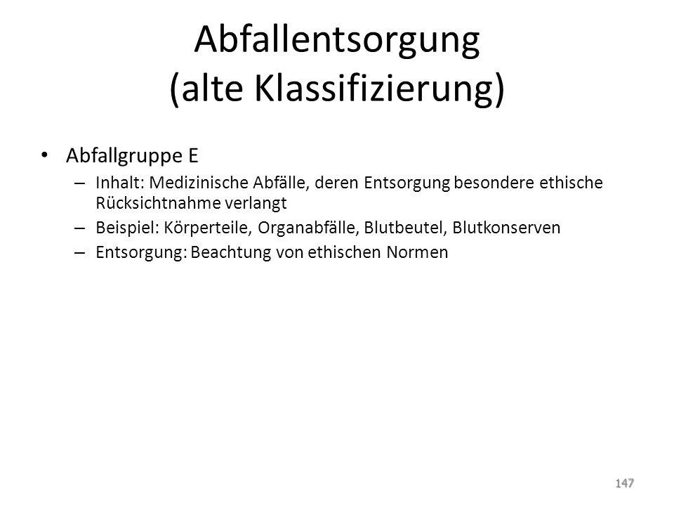 Abfallentsorgung (alte Klassifizierung)