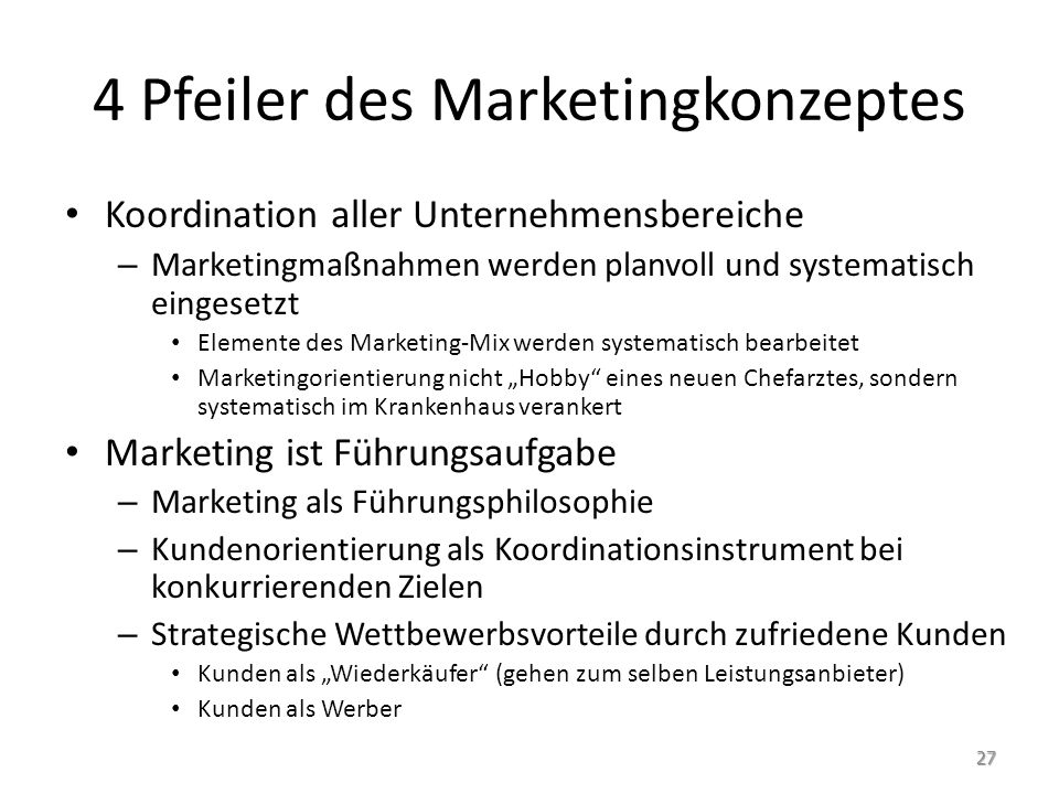 4 Pfeiler des Marketingkonzeptes