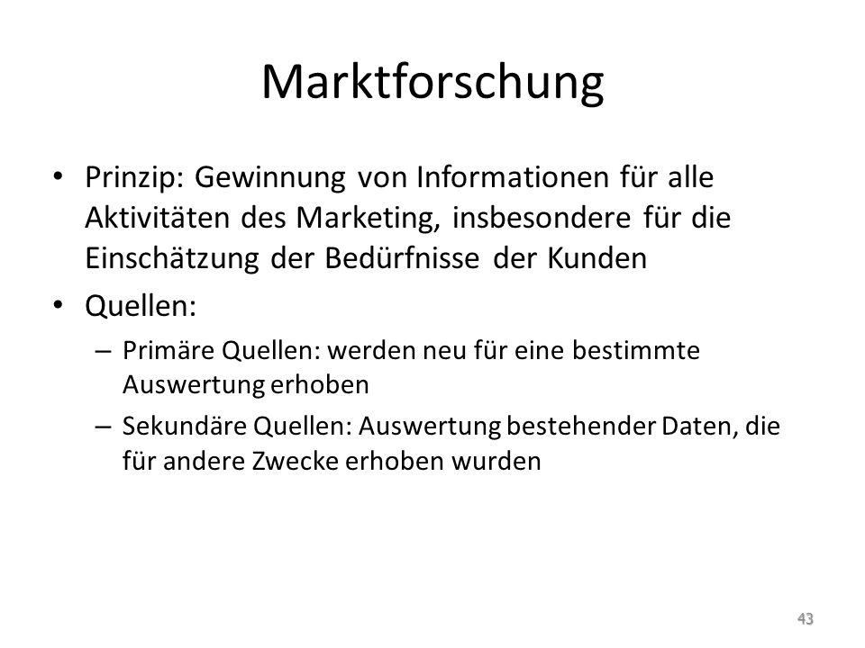 Marktforschung Prinzip: Gewinnung von Informationen für alle Aktivitäten des Marketing, insbesondere für die Einschätzung der Bedürfnisse der Kunden.