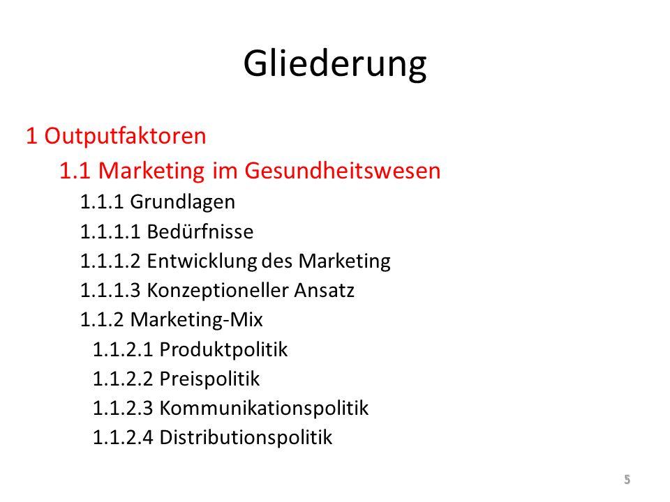 Gliederung 1 Outputfaktoren 1.1 Marketing im Gesundheitswesen