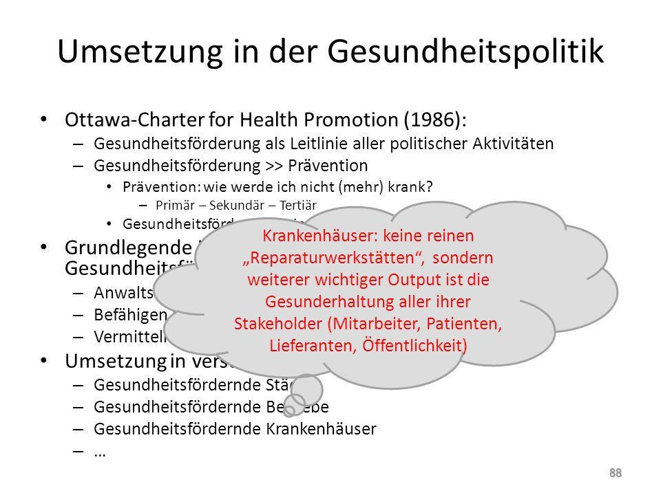 Umsetzung in der Gesundheitspolitik