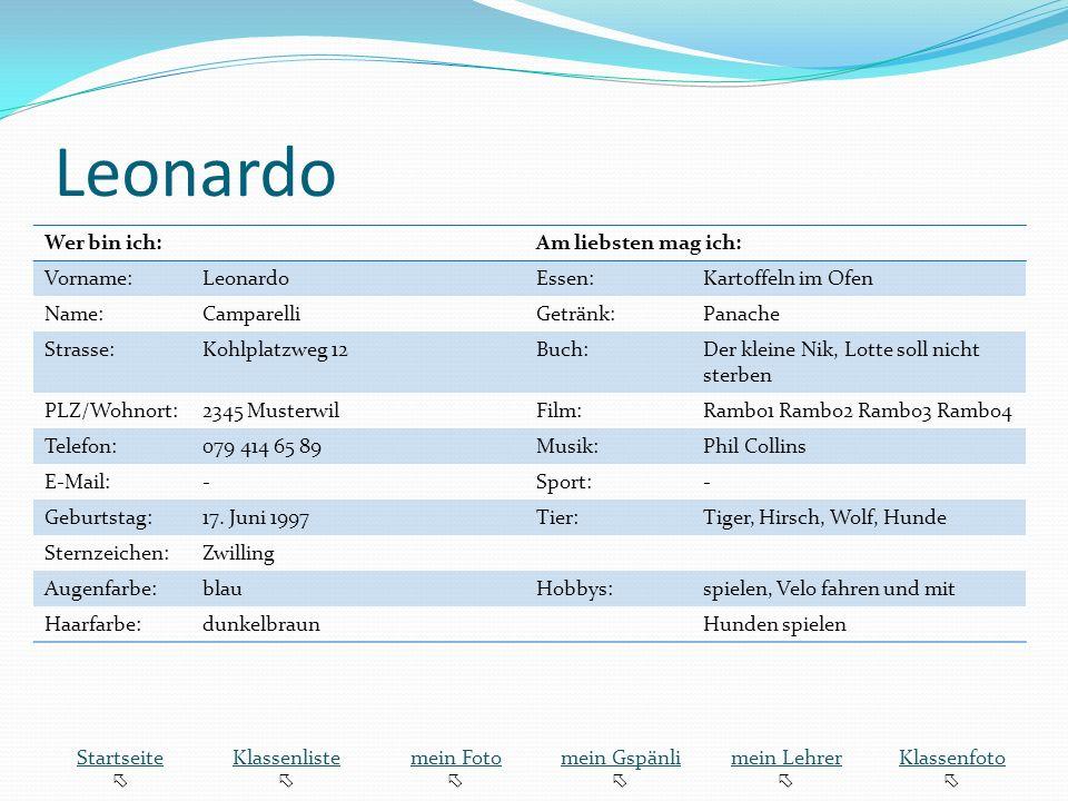 Leonardo Wer bin ich: Am liebsten mag ich: Vorname: Leonardo Essen: