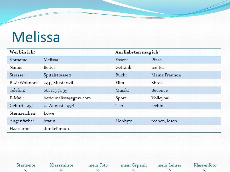 Melissa Wer bin ich: Am liebsten mag ich: Vorname: Melissa Essen:
