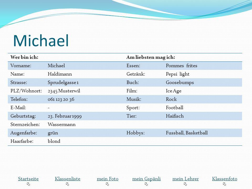Michael Wer bin ich: Am liebsten mag ich: Vorname: Michael Essen: