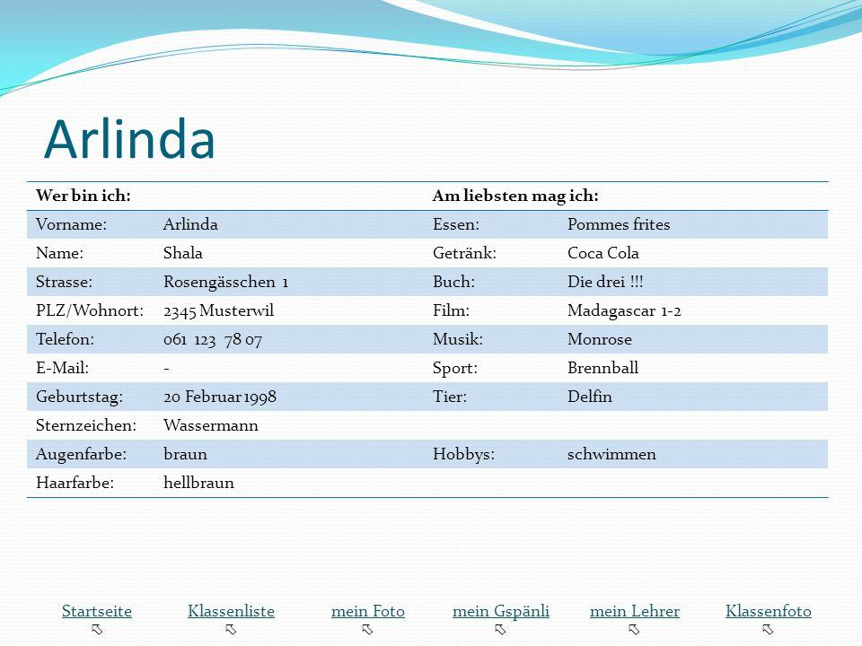 Arlinda Wer bin ich: Am liebsten mag ich: Vorname: Arlinda Essen: