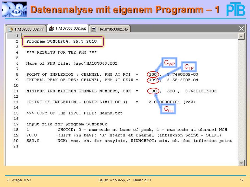 Datenanalyse mit eigenem Programm – 1