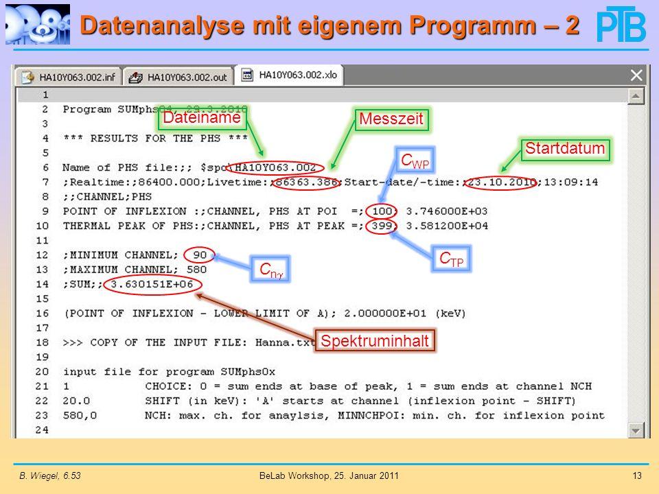 Datenanalyse mit eigenem Programm – 2