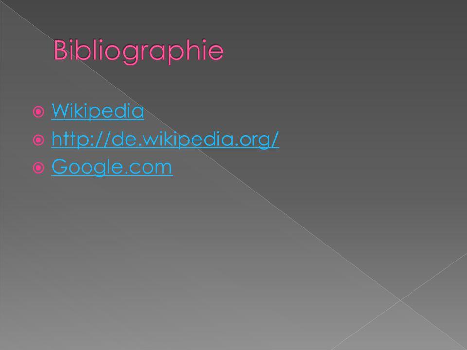 Bibliographie Wikipedia http://de.wikipedia.org/ Google.com