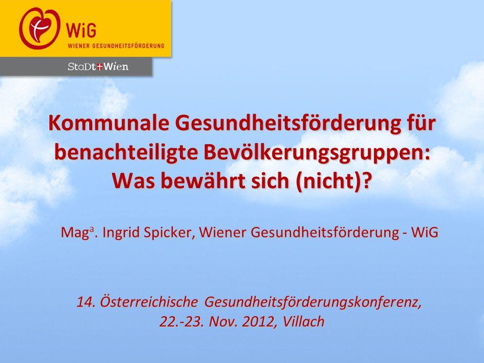 Maga. Ingrid Spicker, Wiener Gesundheitsförderung - WiG