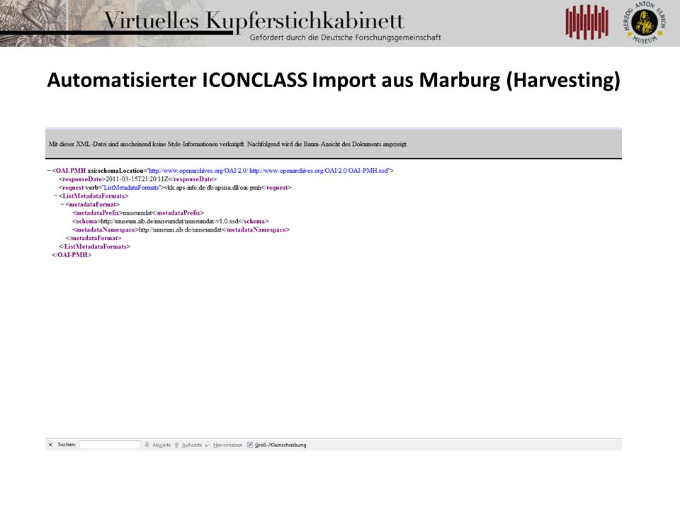 Automatisierter ICONCLASS Import aus Marburg (Harvesting)