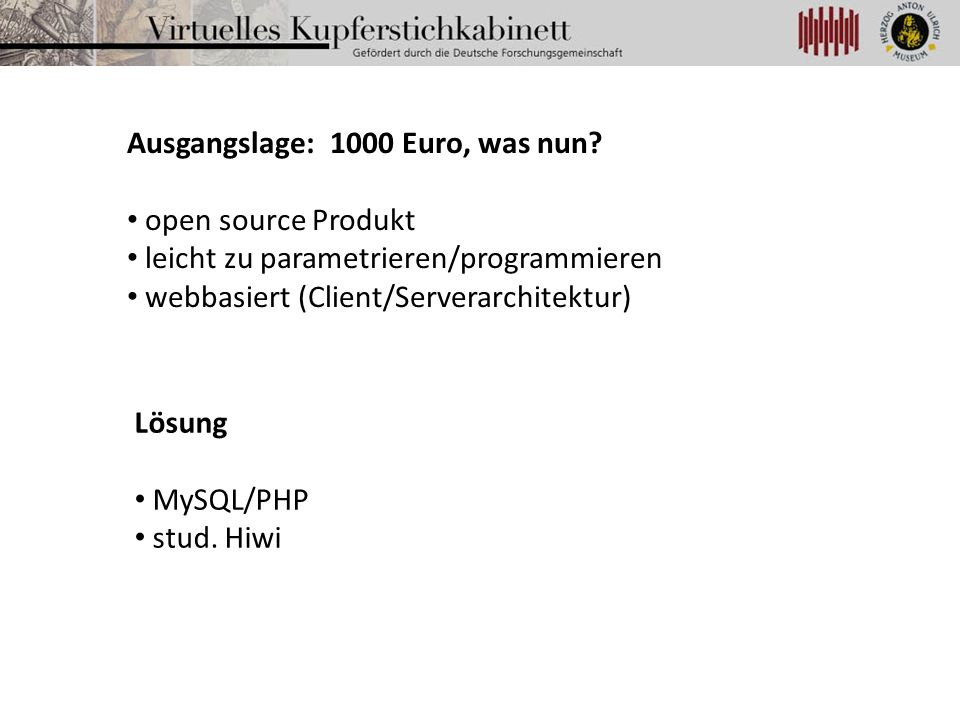 Ausgangslage: 1000 Euro, was nun