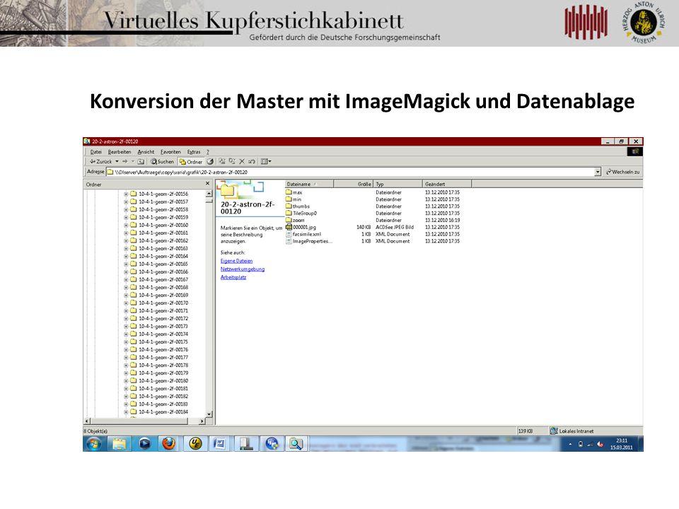 Konversion der Master mit ImageMagick und Datenablage