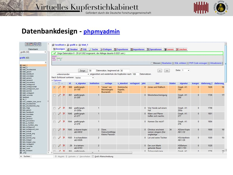 Datenbankdesign - phpmyadmin