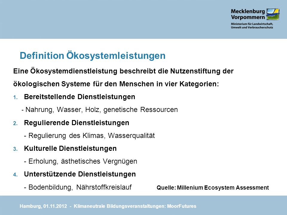 Definition Ökosystemleistungen