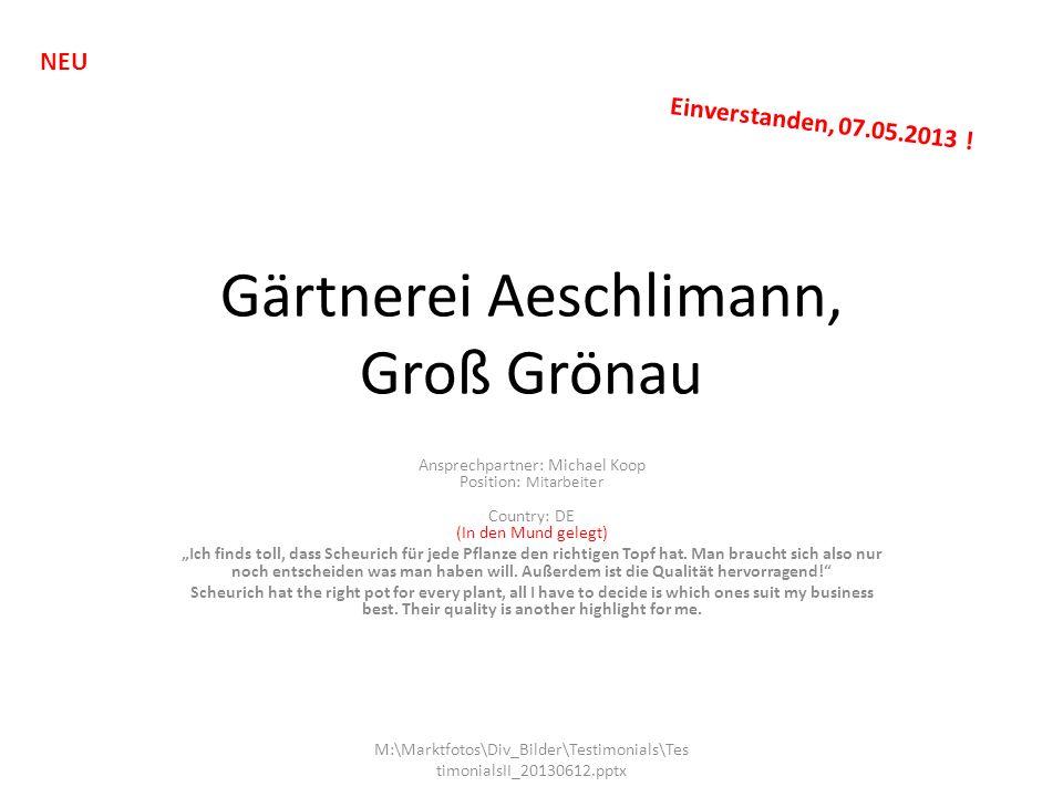 Gärtnerei Aeschlimann, Groß Grönau