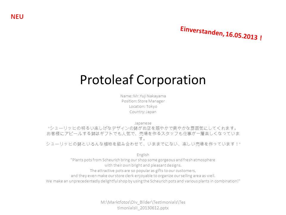 Protoleaf Corporation