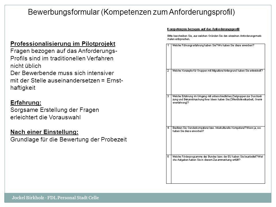 Bewerbungsformular (Kompetenzen zum Anforderungsprofil)