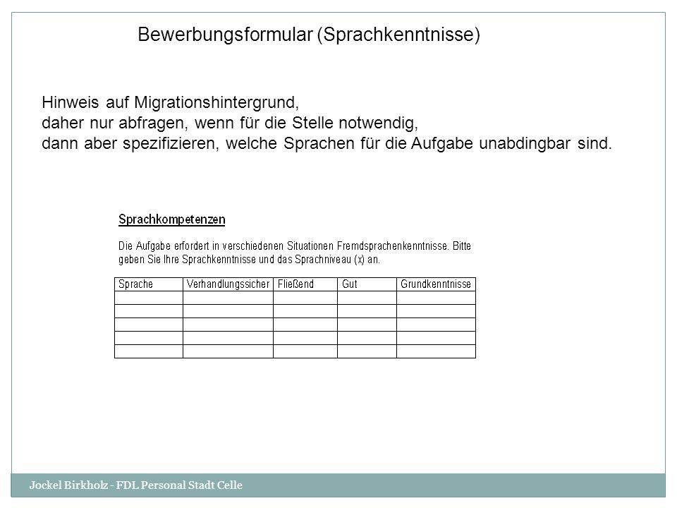 Bewerbungsformular (Sprachkenntnisse)